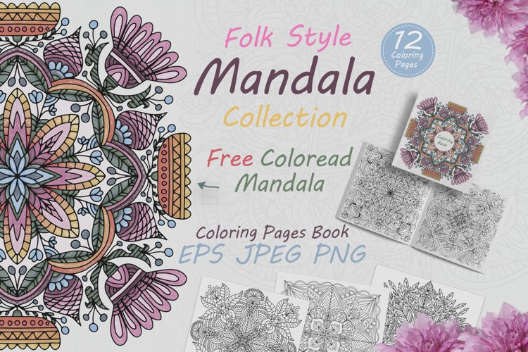 Collection of mandalas drawn in folk style example image 1