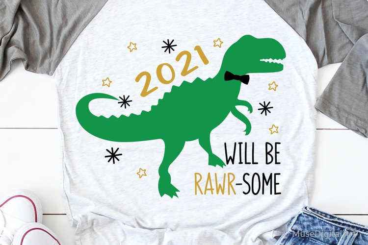 Kids New Years Svg, New Years 2021 Svg, New Years T-Rex Svg example image 1