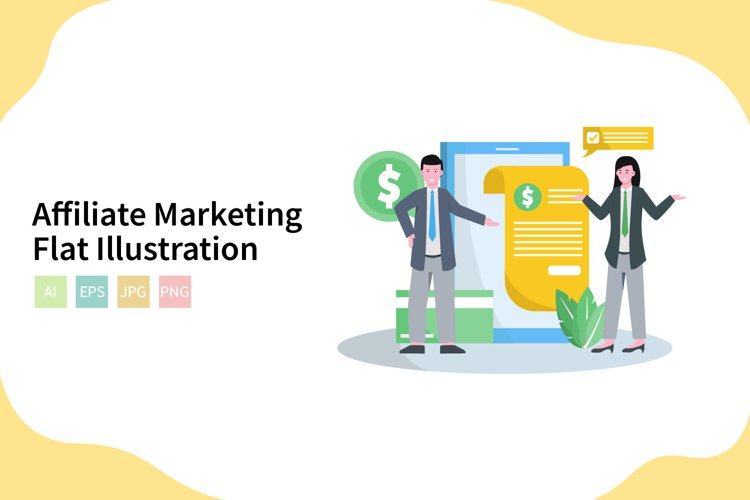 Affiliate Marketing Vector Illustration In Flat Modern Style example image 1