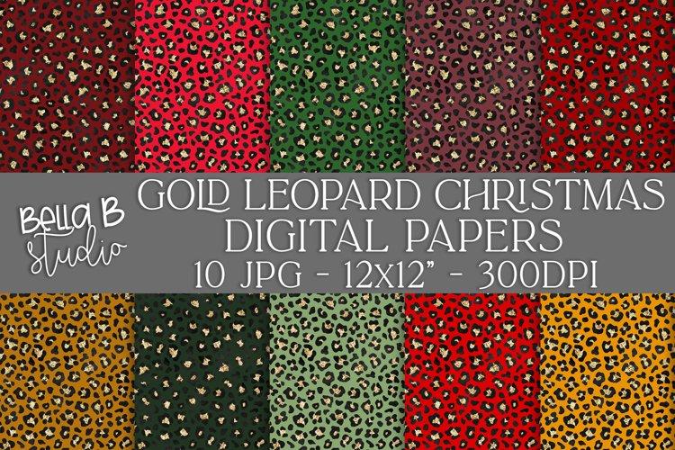Gold Leopard Christmas Digital Papers, Digital Paper Pack