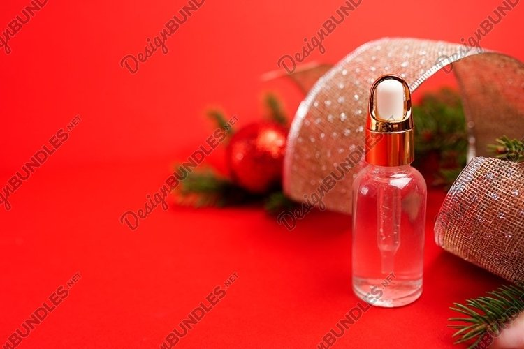 natural cosmetic skincare bottle oil serum on red background example image 1