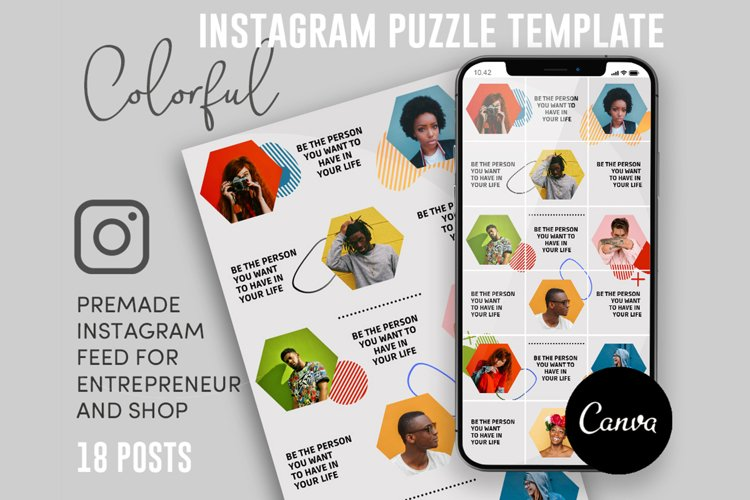 Colorfurl, Instagram Puzzle Template, 18 Posts example image 1