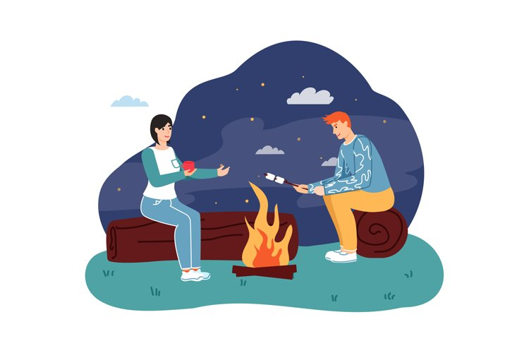 Couple sitting at campfire, drinking hot tea and roasting ma example image 1