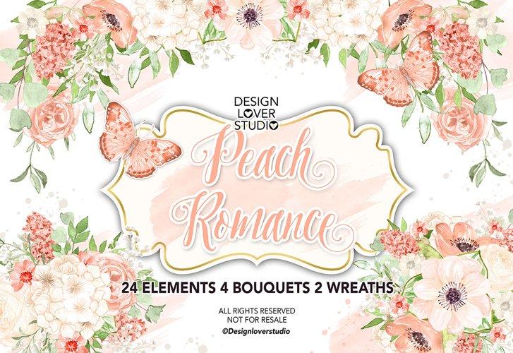 Watercolor Peach Romance design example image 1