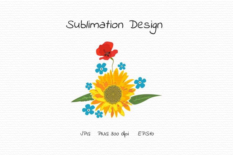 Sunflower, poppy, forget-me-nots - Sublimation Design