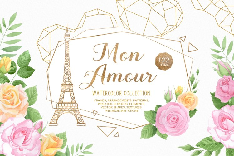 Mon Amour watercolor collection example image 1