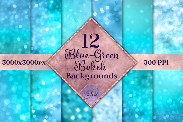 Blue-Green Bokeh Backgrounds - 12 Image Textures Set example image 1