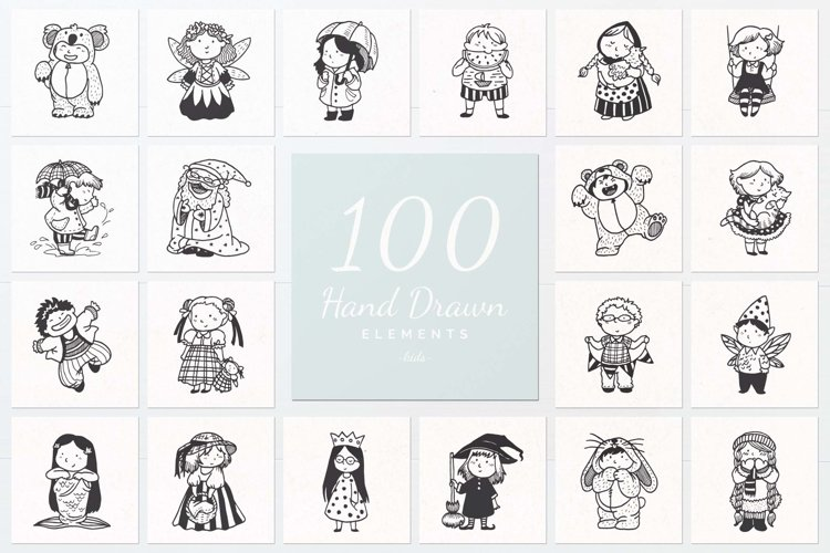 100 Hand Drawn Elements -Kids- example image 1
