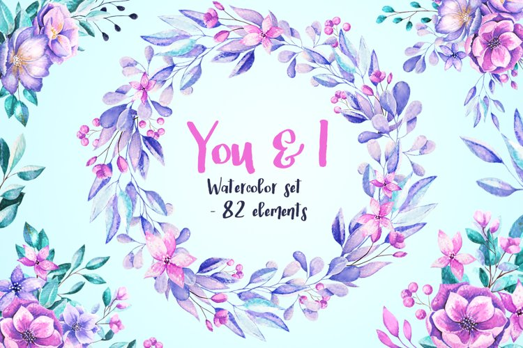 You & I - flower watercolor set example image 1