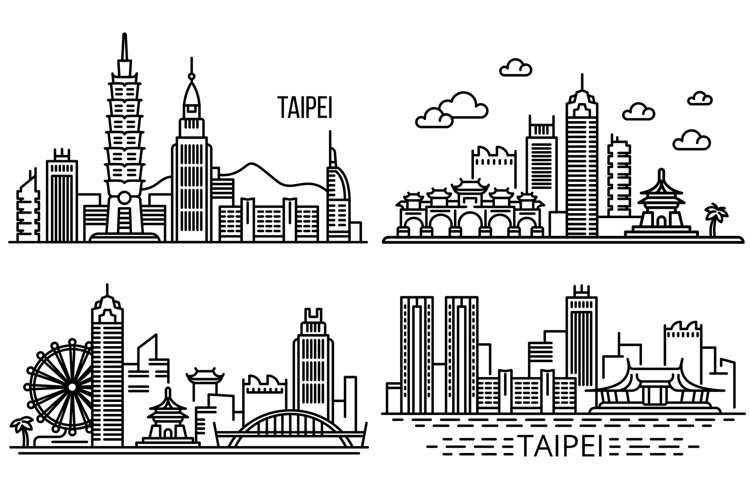 Taipei banner set, outline style example image 1