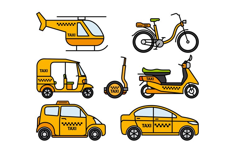 Taxi thin line icons example image 1