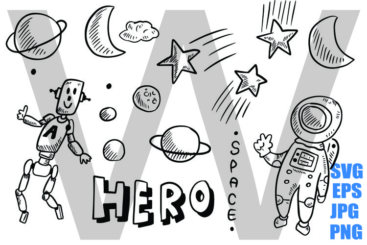 Space Planet Astronaut Robot - SVG EPS JPG PNG example image 1