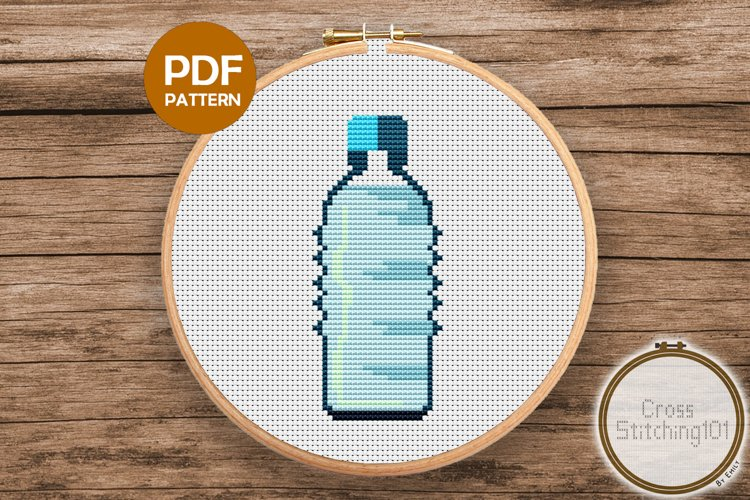 Cold Water Bottle Cross Stitch Pattern- Instant Download PDF example image 1