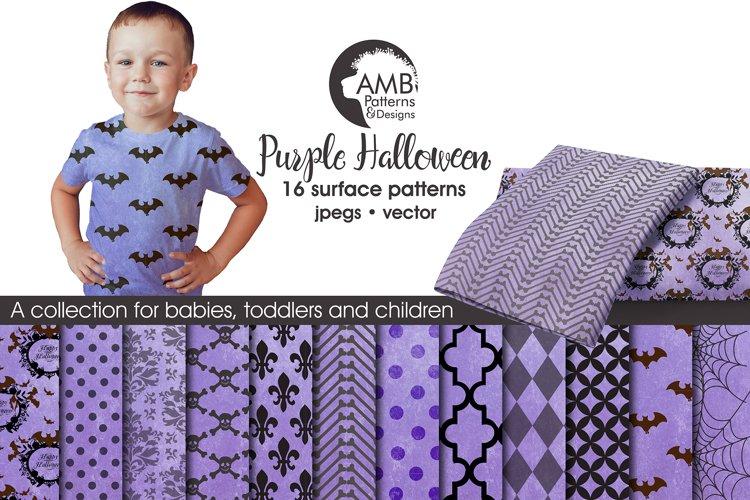Purple Halloween Surface Patterns, Halloween Paper, AMB-1097