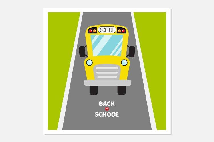 Back to school. School bus, road example image 1