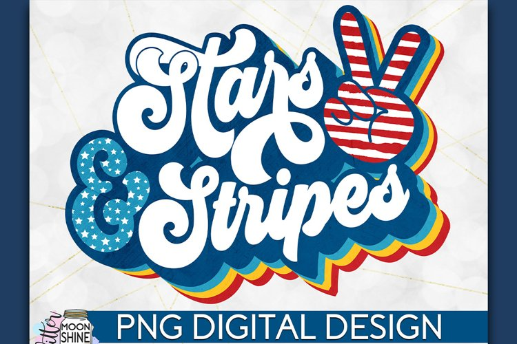 Stars & Stripes Peace Sign Retro PNG Sublimation example