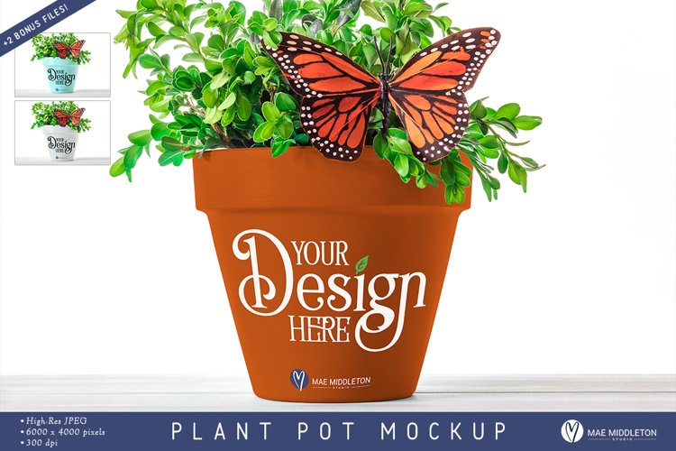 Clay Pot with Butterfly | Mock up, 3 styled photos