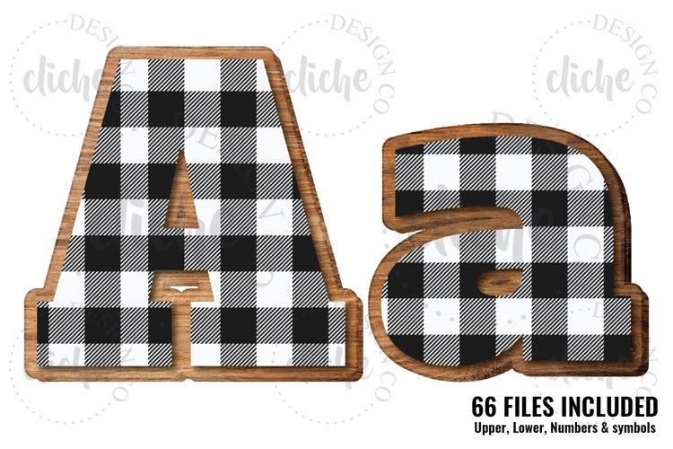 White Buffalo Plaid Wooden Alphabet Sublimation Set