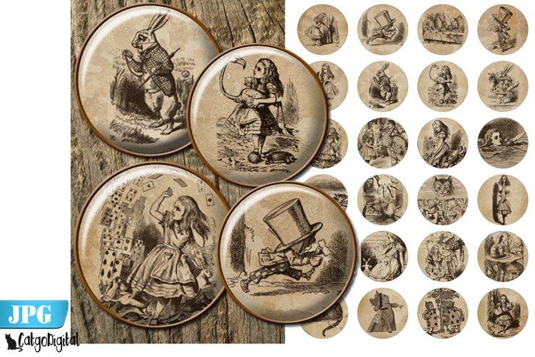 Alice in Wonderland Bottle cap images Digital Collage sheet
