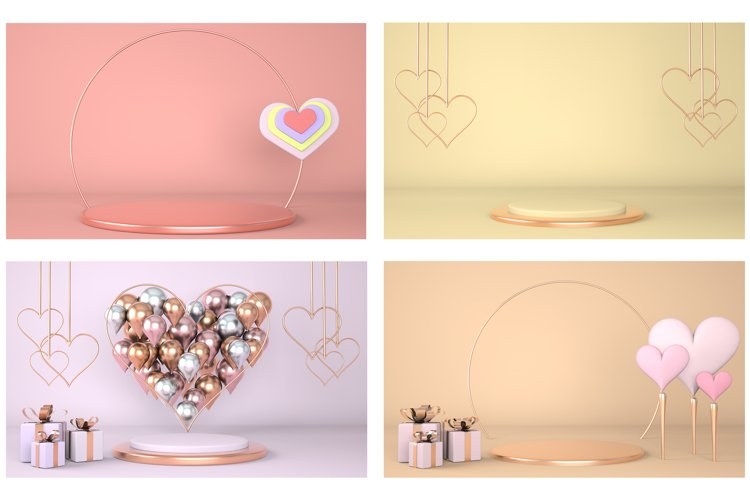 Valentines Day interior with pedestal, hearts.