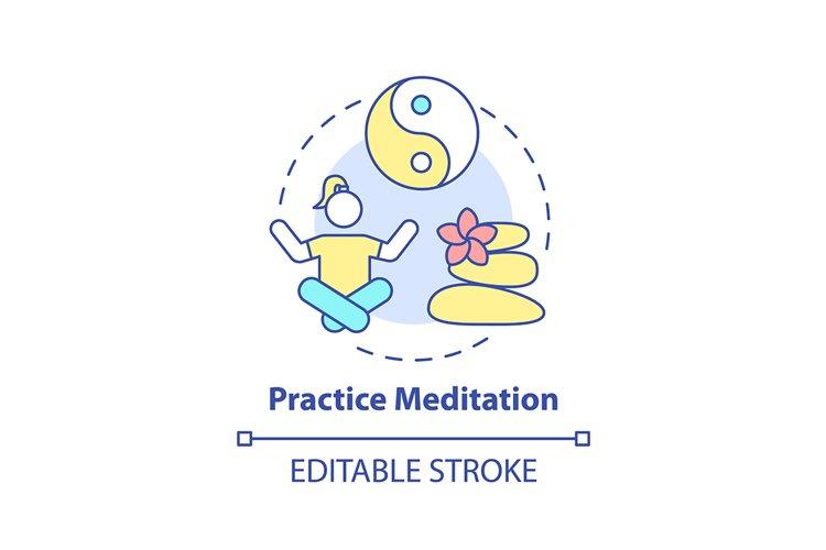 Practice meditation concept icon example image 1