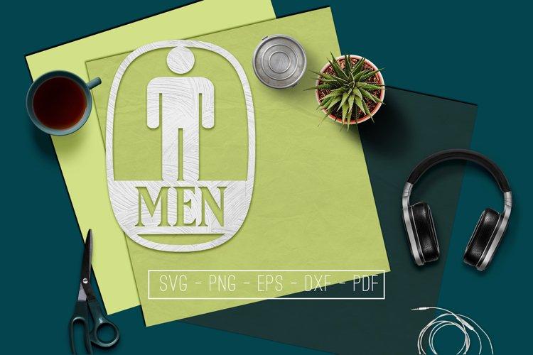 Men Sign Papercut Template, Toilet Decor, SVG, PDF, DXF example image 1