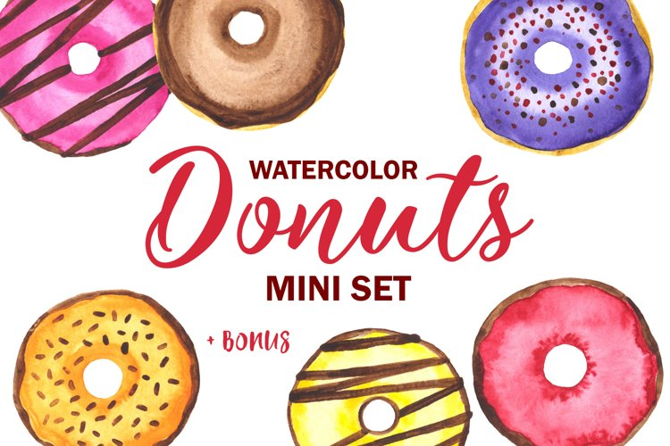 Donuts Watercolor mini Set. Clipart example image 1