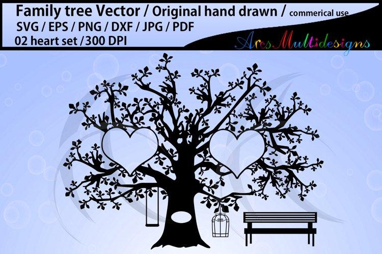 2 hearts family tree clipart / hand drawn tree svg vector