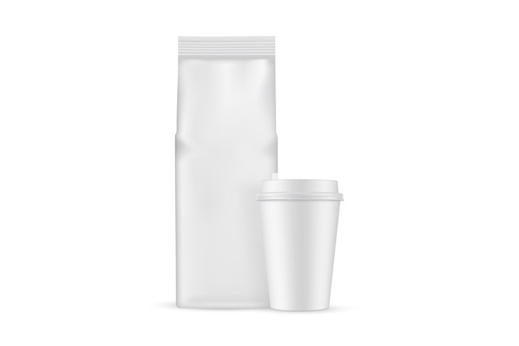 Coffee Bag with Paper Cup Mockup Isolated example image 1
