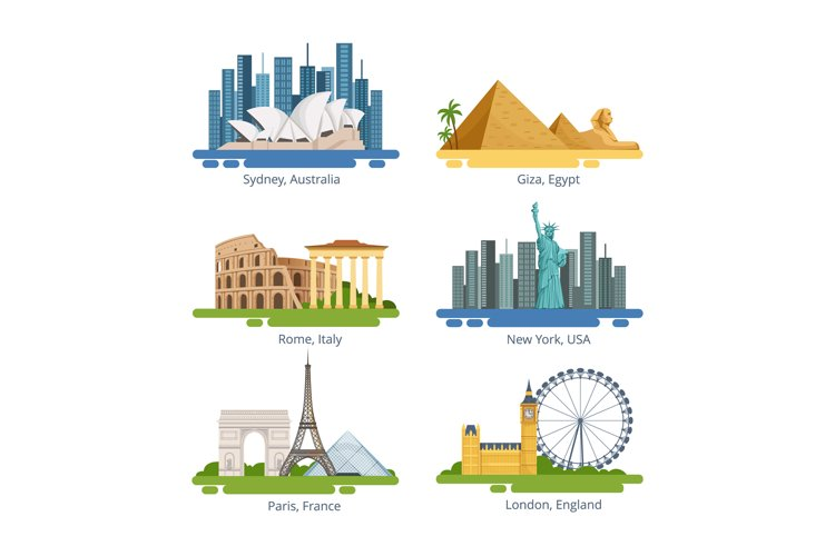 Different city panoramas with famous landmarks. Vector illus example image 1