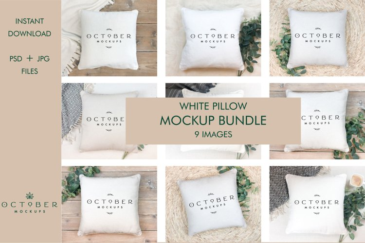 Mockup Bundle White Pillow in PSD and JPG | Craft Mockups