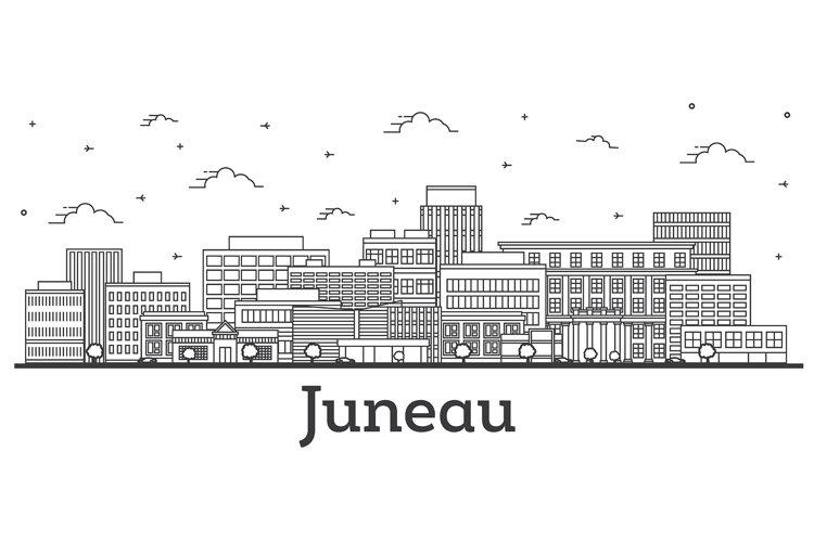 Outline Juneau Alaska City Skyline with Modern Buildings example image 1