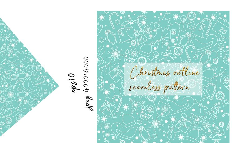 Christmas Outline Seamless Pattern example image 1