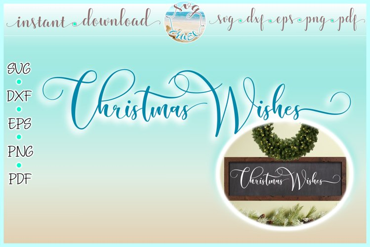Christmas Wishes Horizontal Wood Sign SVG Dxf Eps Png PDF example image 1