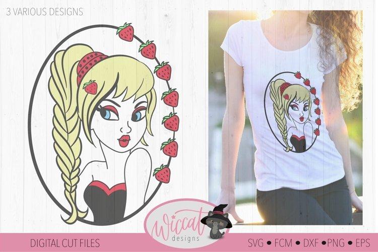 Strawberry Girl svg, summer svg, pin up girl, sassy girl