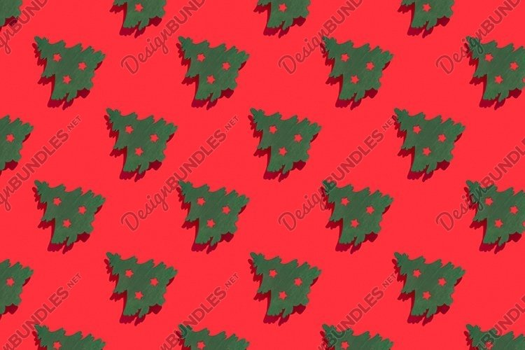 Seamless pattern with Christmas trees red background. example image 1