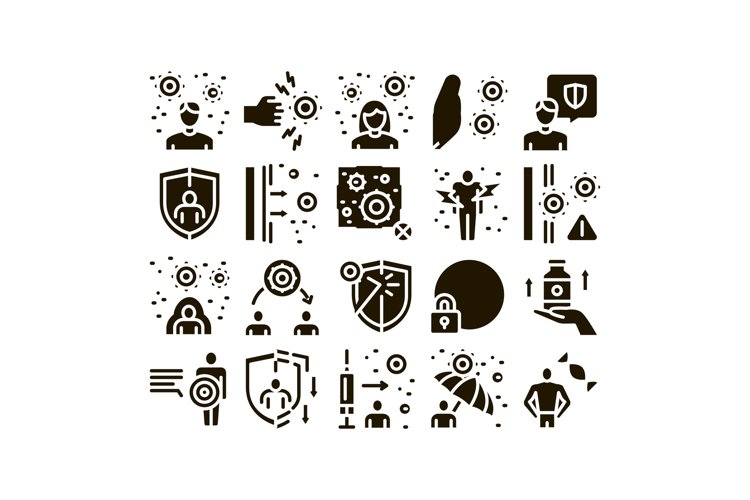 Immunity Human Biological Defense Icons Set Vector example image 1