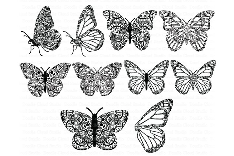Mandala Butterfly SVG Zentangle Files, Butterfly Wing SVG example image 1
