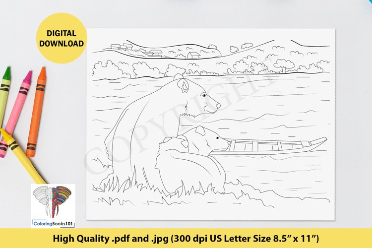 Two Bear Sitting near the River Coloring Page for Adult example image 1