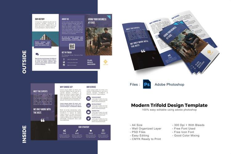 Minimalist business trifold photoshop template