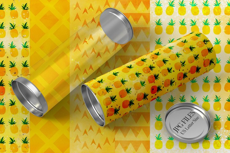 Summer pineapple watercolor backgrounds for sublimation