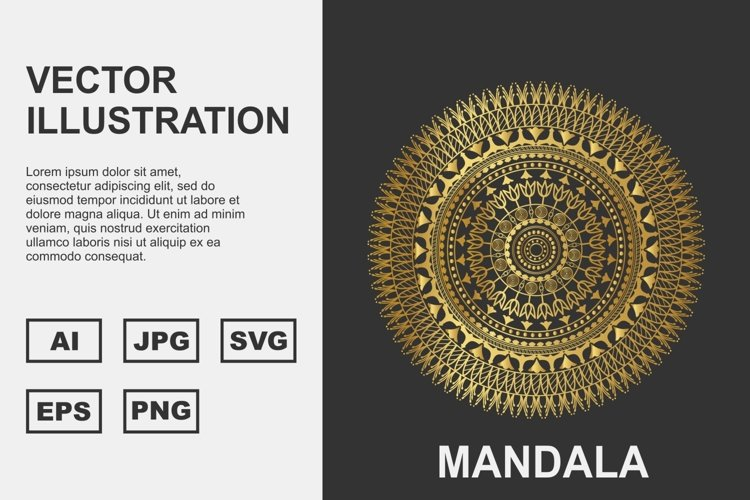 Golden Vector mandala Illustration Design example image 1