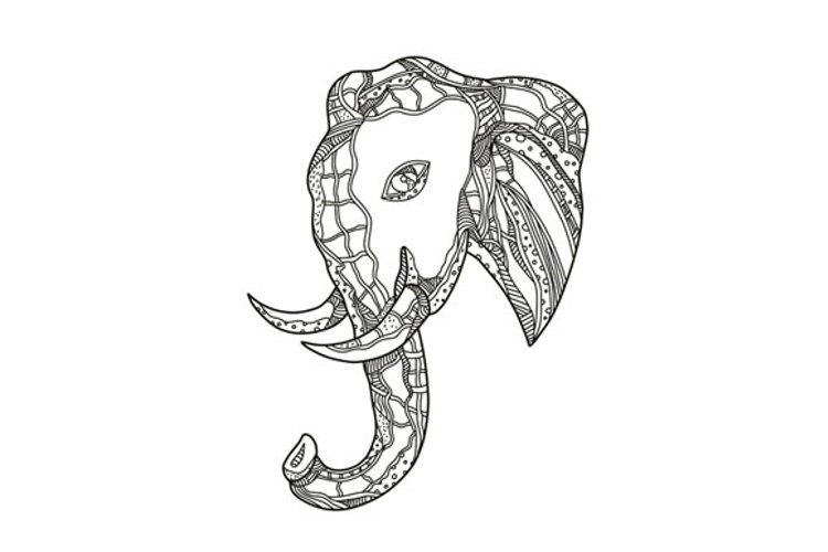 Bull  Elephant Head Doodle Art example image 1
