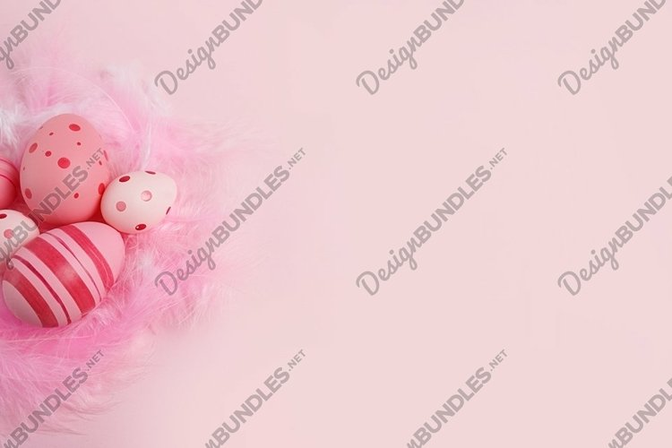 Pink eggs with feathers on pink background, copy space example image 1