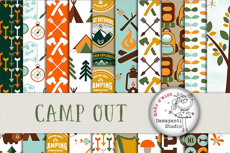 Camping Digital Papers, great outdoors papers, camping scrapbook papers, forest background, travel papers, wood paper, camfipre paper, green