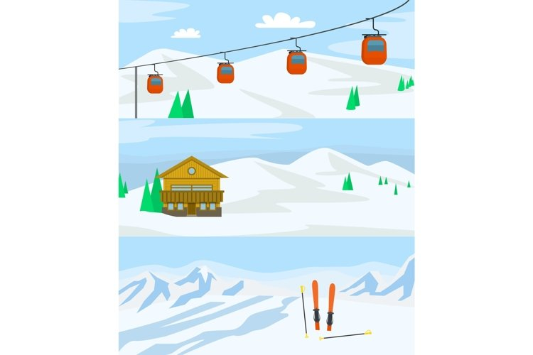 Resort hotel winter banner concept set, flat style example image 1