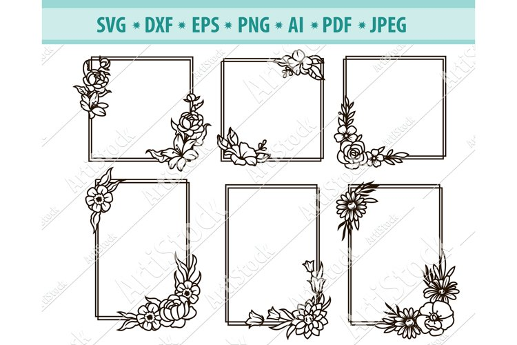 Flower Frame SVG, Floral square frames Svg, Png, Dxf, Eps example image 1
