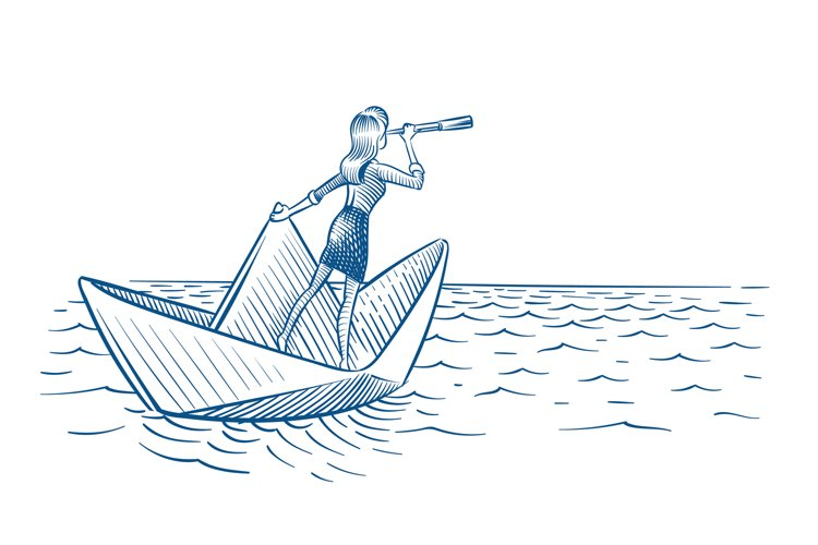 Businesswoman leader. Woman with telescope sailing on paper example image 1