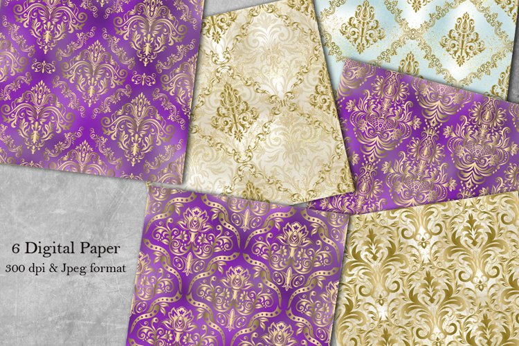 6 Damask Digital Papers. Damask Seamless Patterns. Victorian example image 1