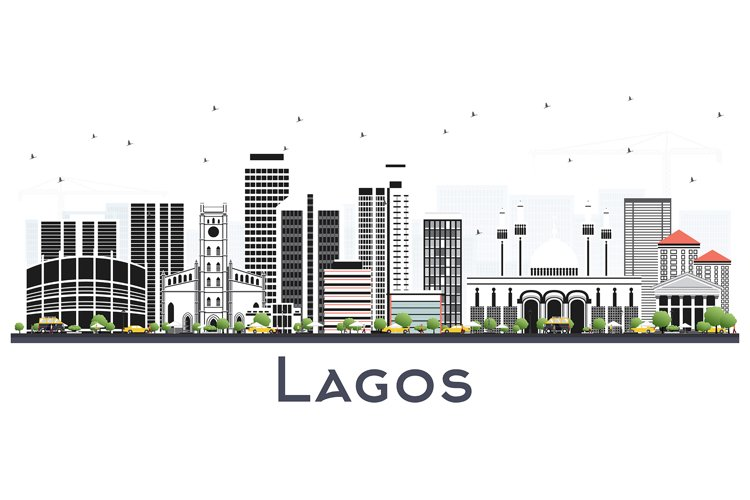 Lagos Nigeria City Skyline with Color Buildings Isolated example image 1